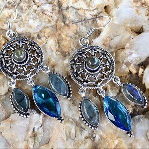 Jewelry - Labradorite and blue quartz dreamcatcher earrings